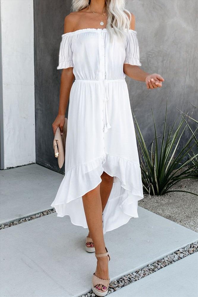 Белое Платье С Открытыми Плечами Купить